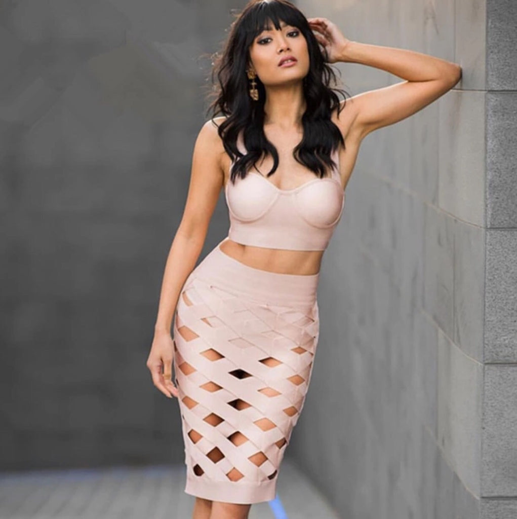 Bleek Nude Bandage Top and Skirt Set