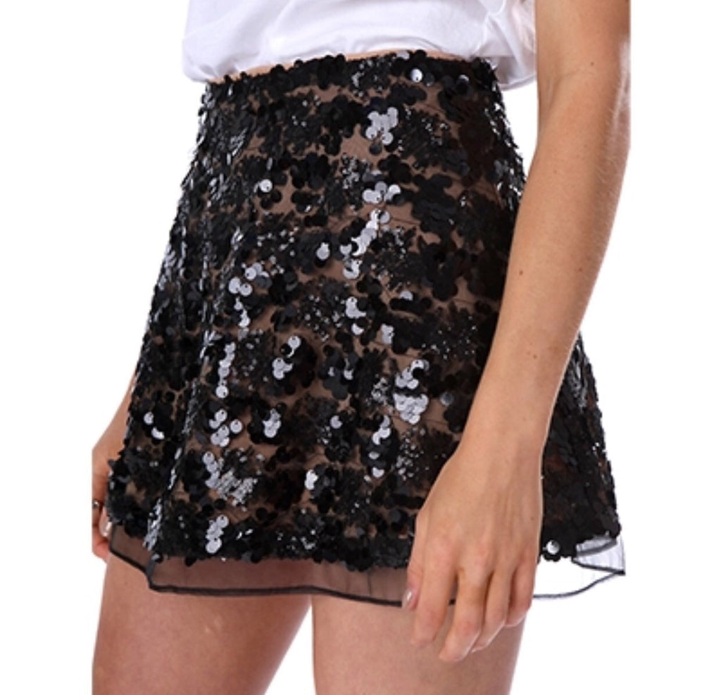 Bec black sequin skirt