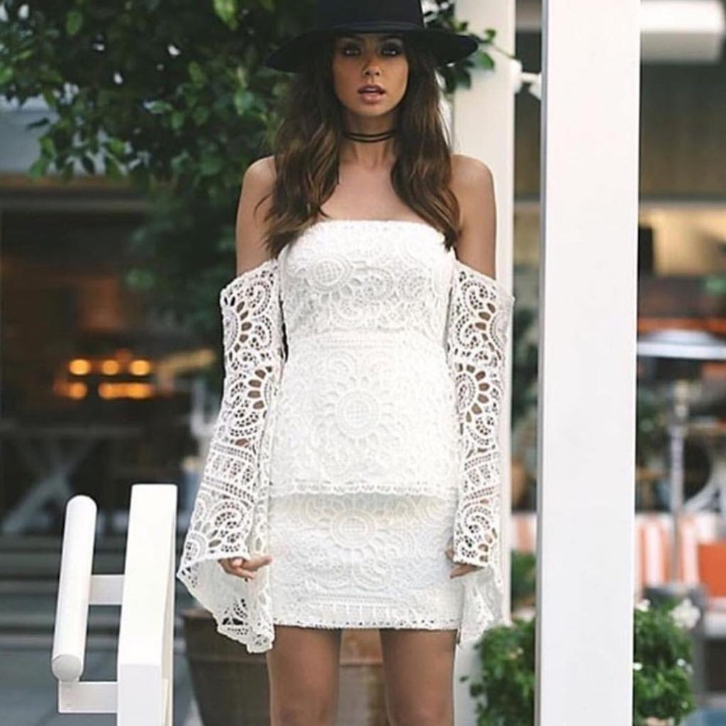 Sierra white lace mini skirt