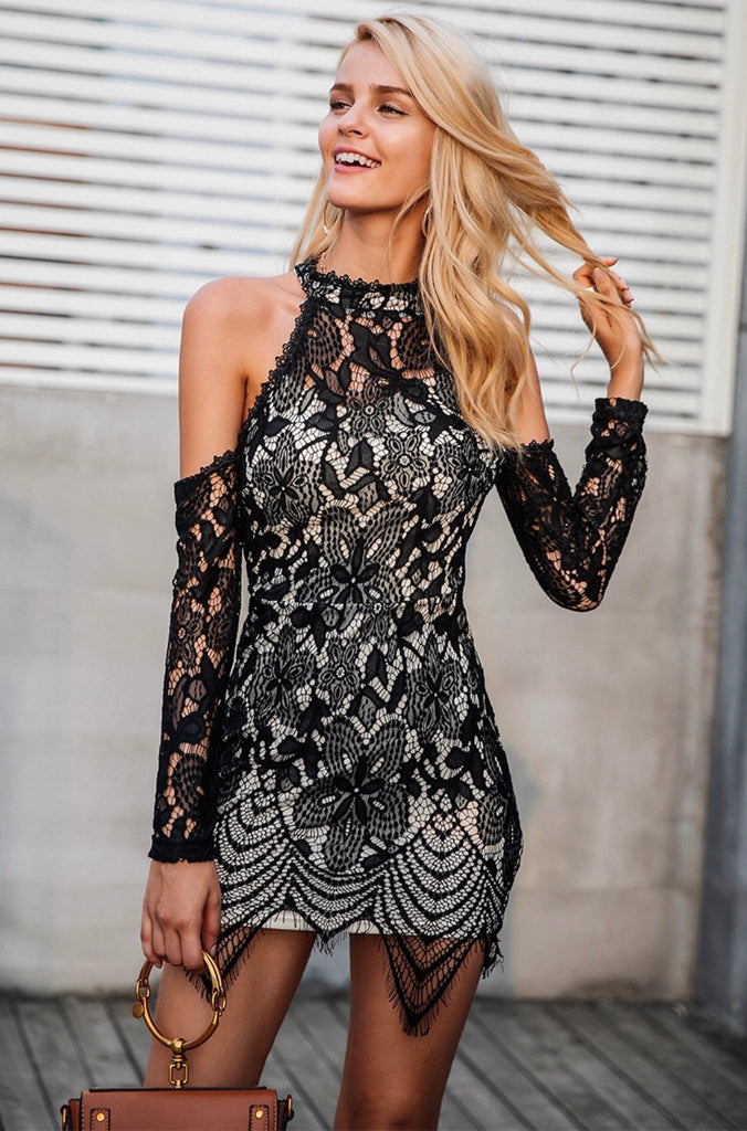 Poppy black lace dress