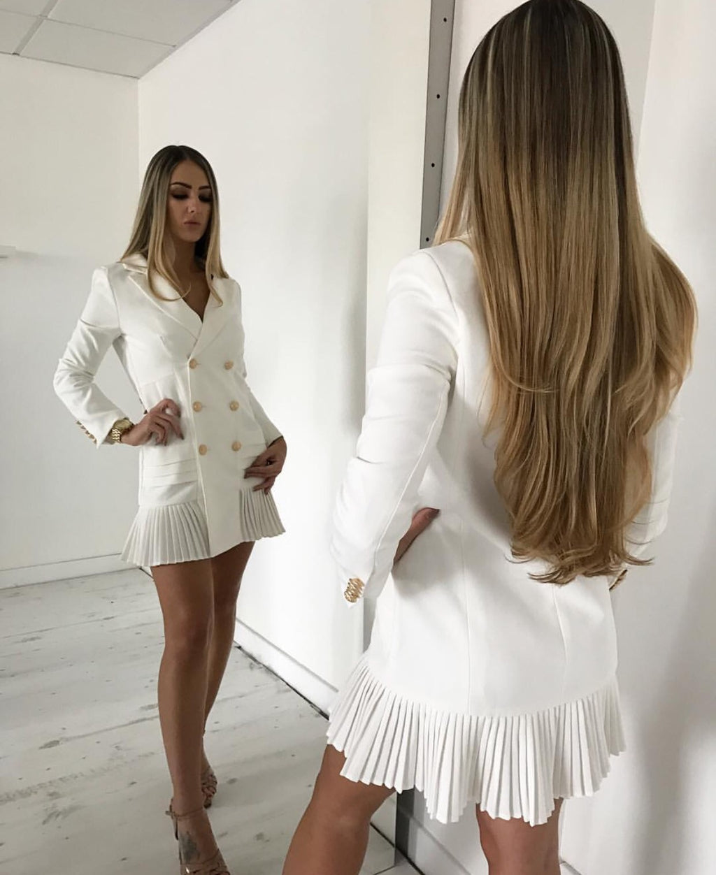 Tarra Double breasted White Dress Jacket