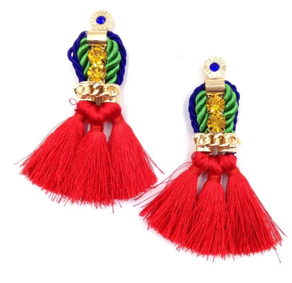 Rozella red tassel earrings