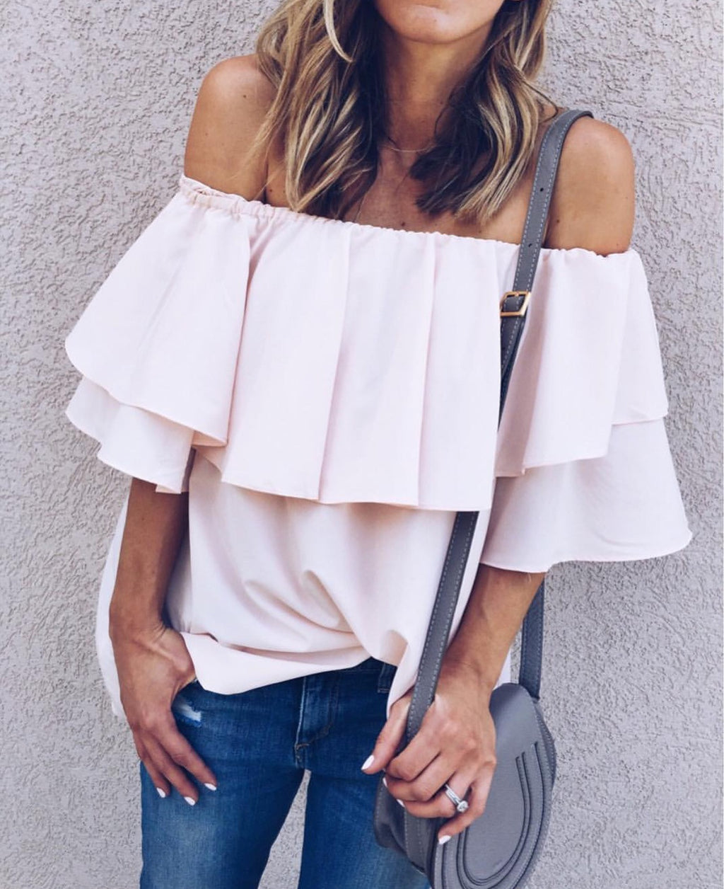 Meis pink off the shoulder top