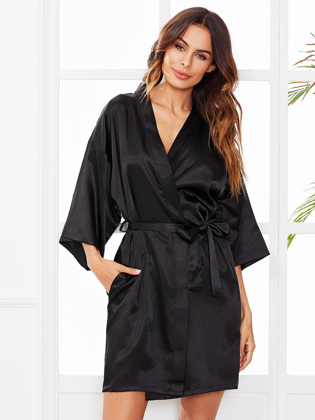 8f9931d12866 Bridesmaid black silk robe – Love Storey Boutique