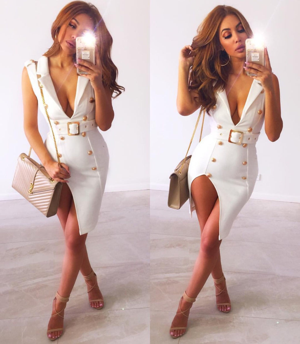 Isabelle White Sleeveless Suede Dress