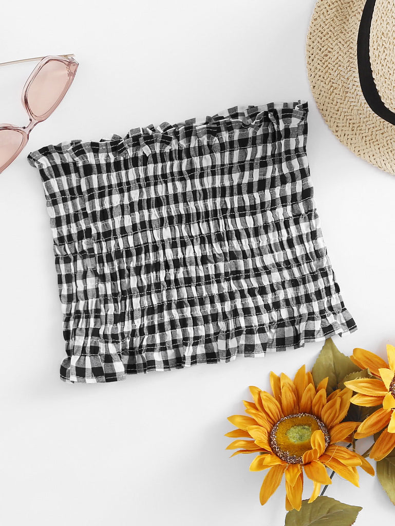 Blake gingham stretch tube top