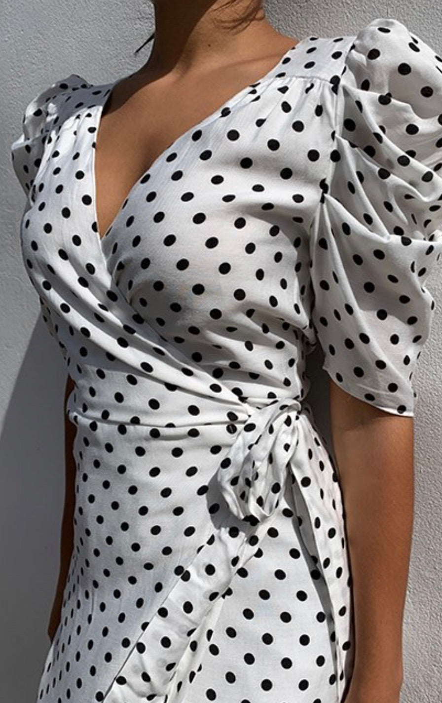 Katy white spot wrap dress