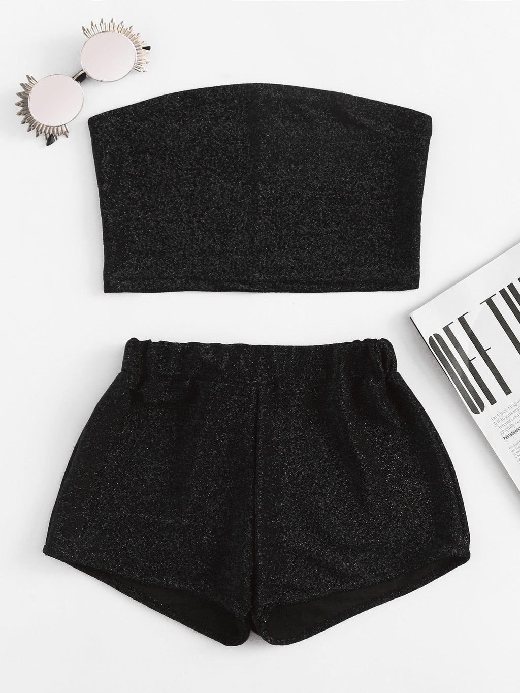 Mensa Black sparkle crop top and short set