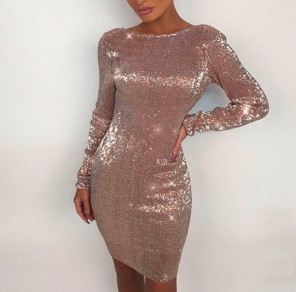 Krystal champagne gold sequin dress