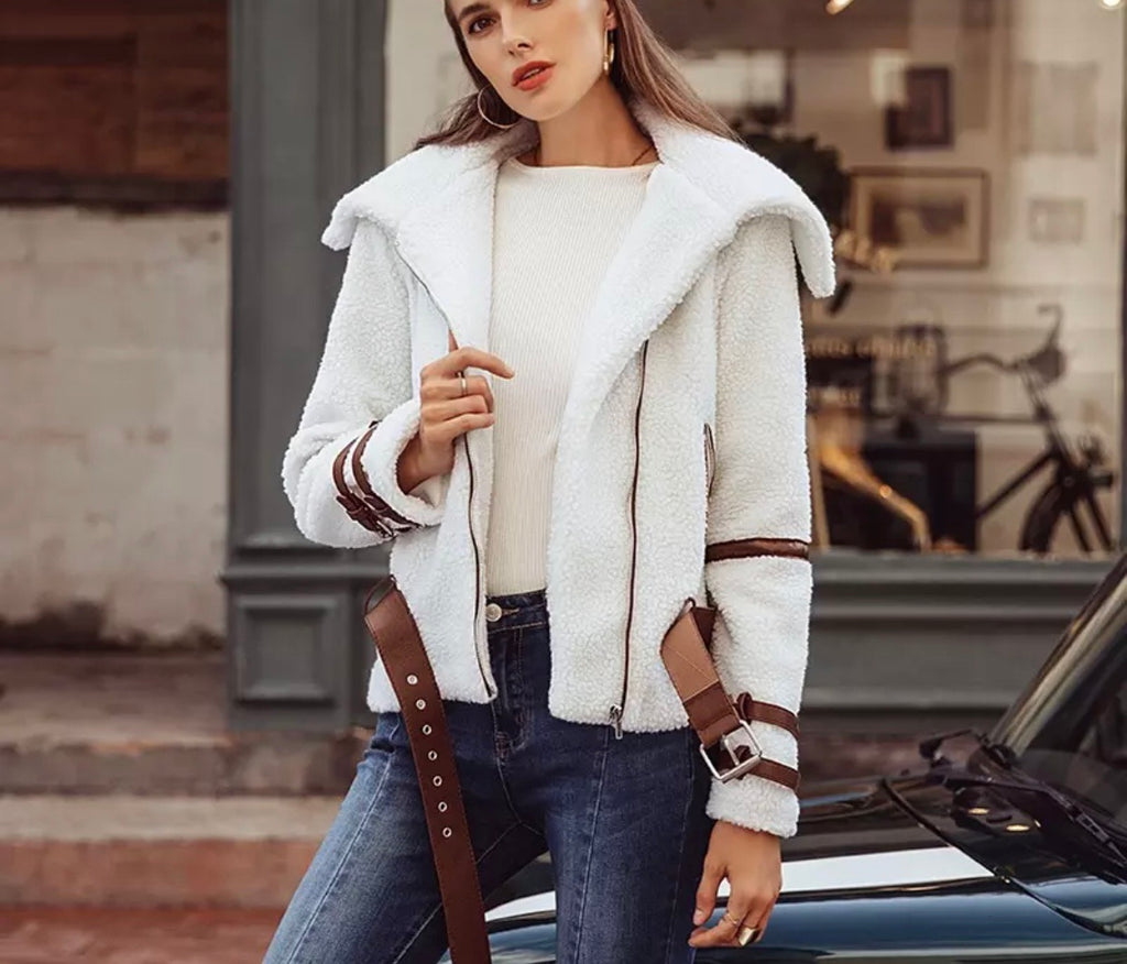 Florida white teddy jacket