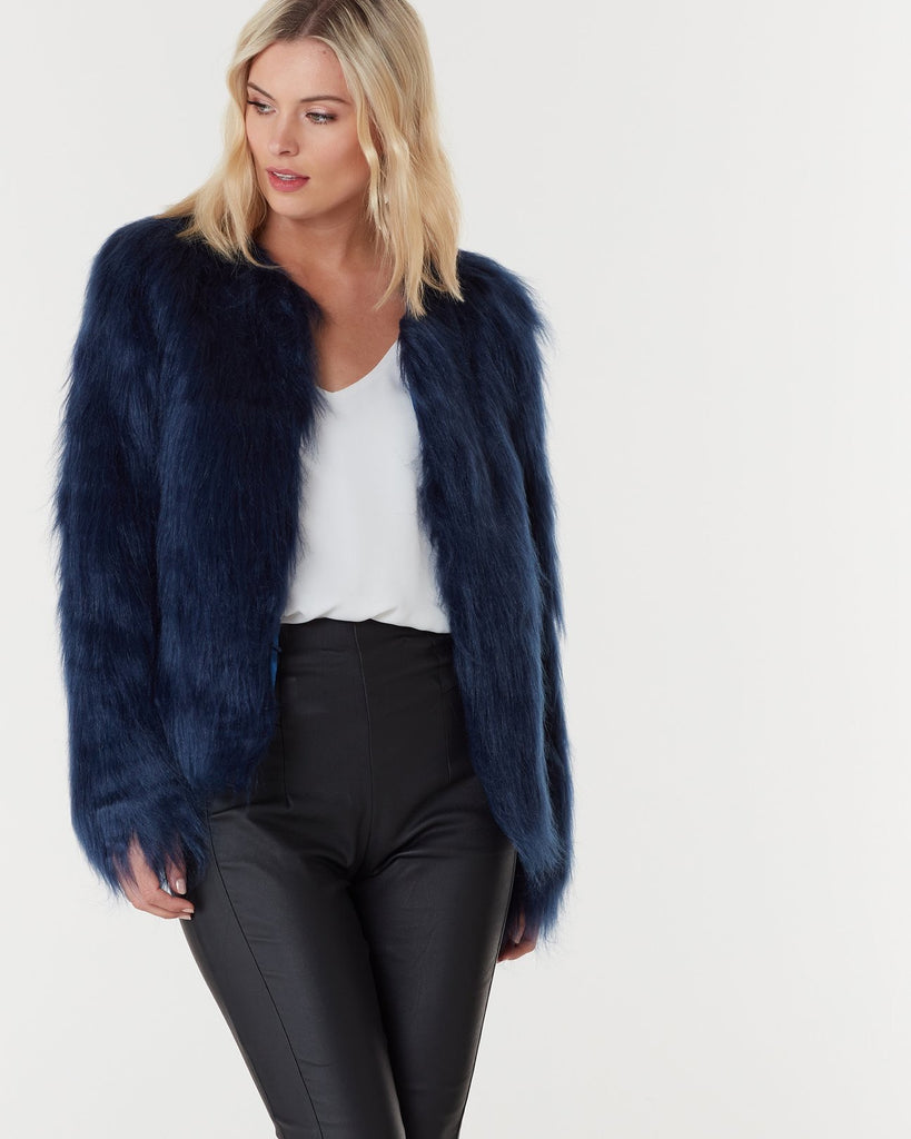 Tess midnight blue faux fur jacket