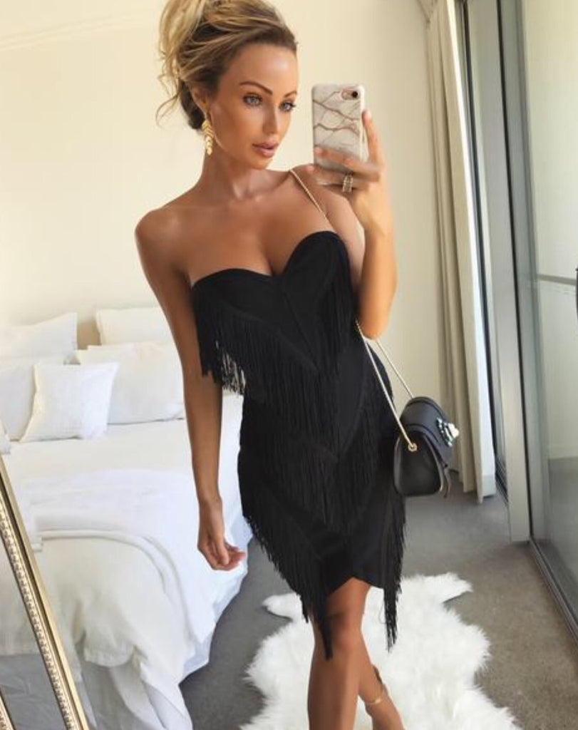 Mor black fringe dress