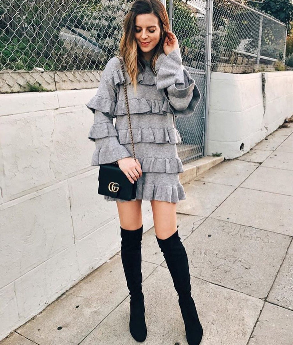 Susana ruffle grey knit dress