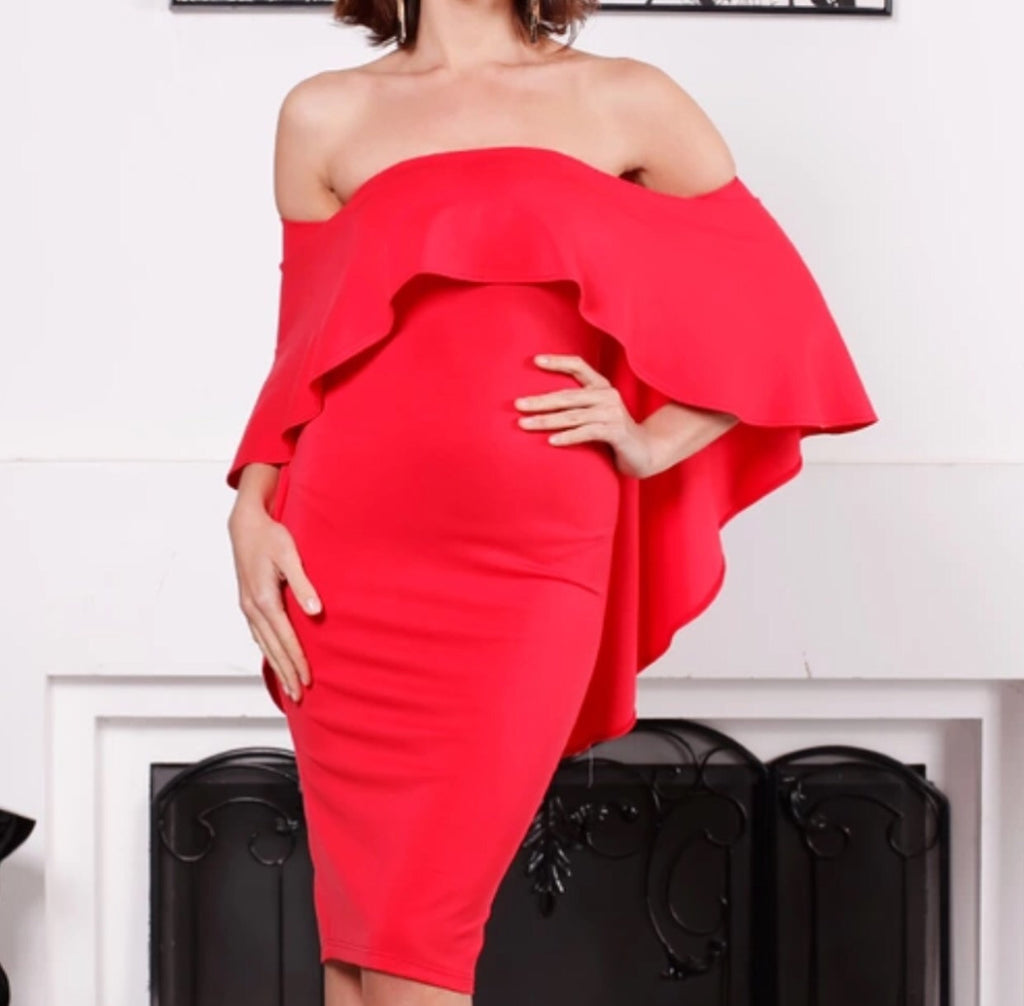 Yeti red off the shoulder dress