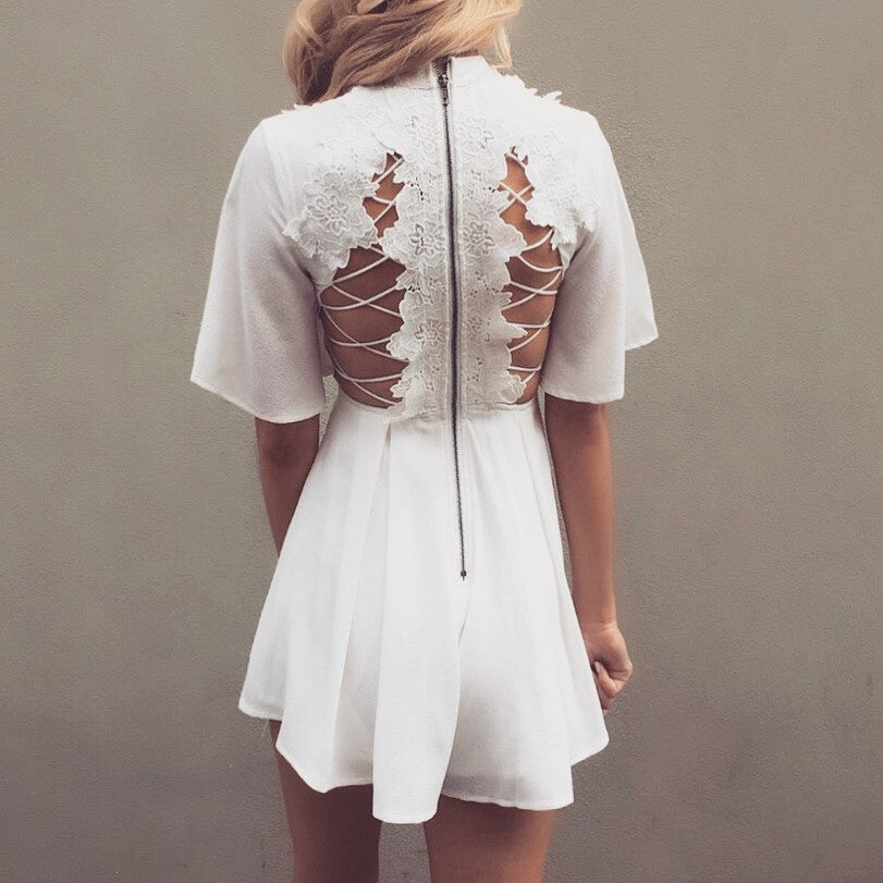 Byron White Lace Playsuit