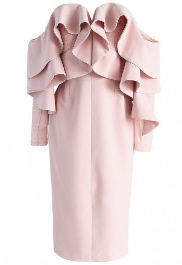 Suze pink off the shoulder ruffle dress