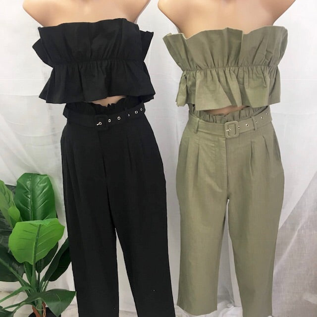 Agnes crop top and pant set avail in Khaki and black