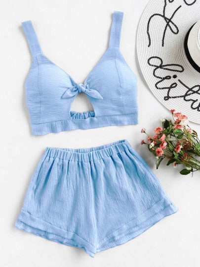 Jo blue crop top and short set