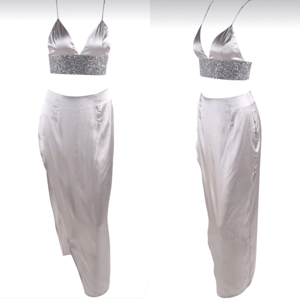 Bailey silver crop top and skirt set