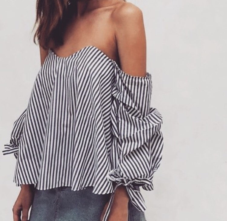 Hannah Stripe Off Shoulder Top