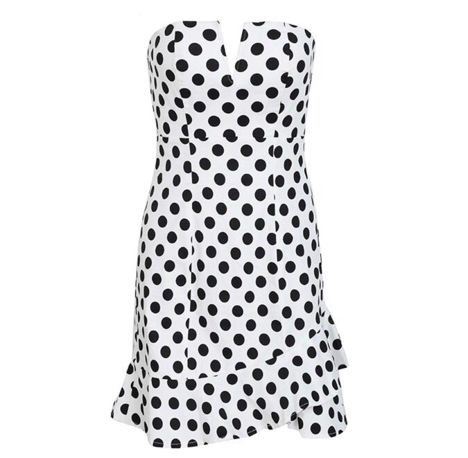 Em white polka dot dress