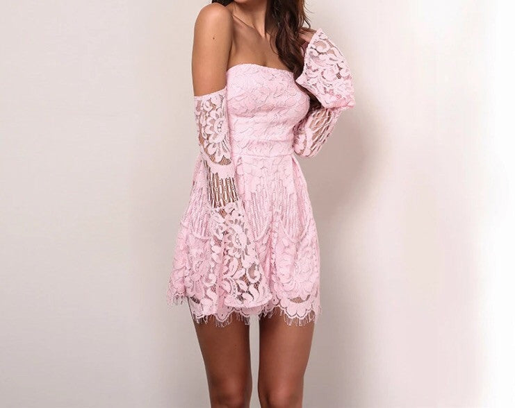 Sydney Pink Lace Playsuit