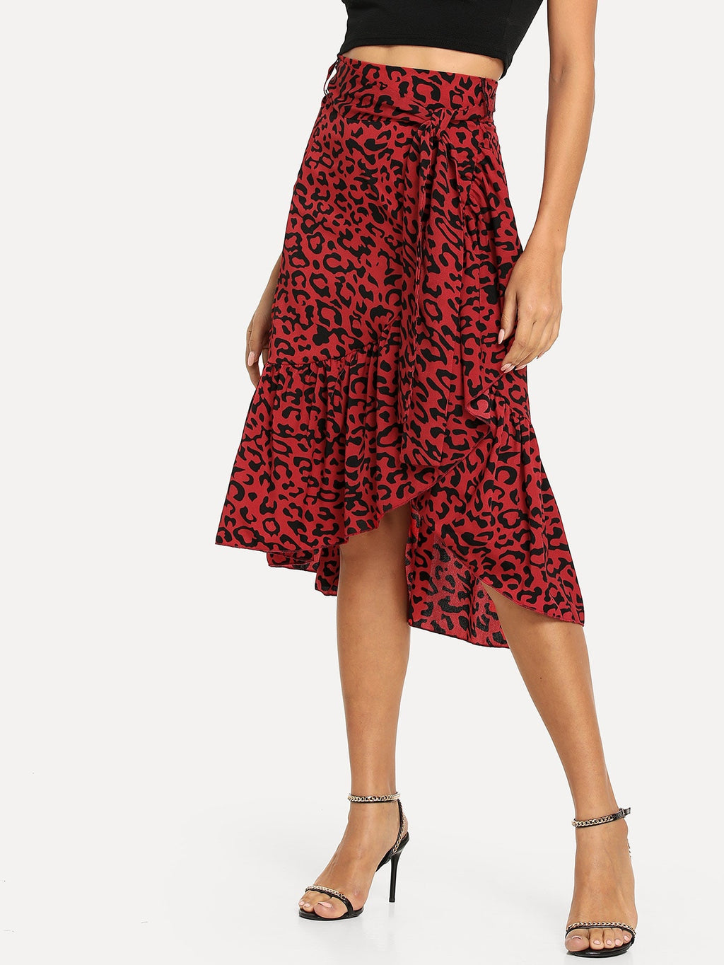 Jade red leopard print skirt