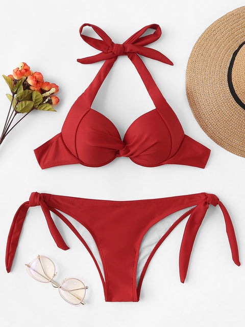 Ash red bikini set