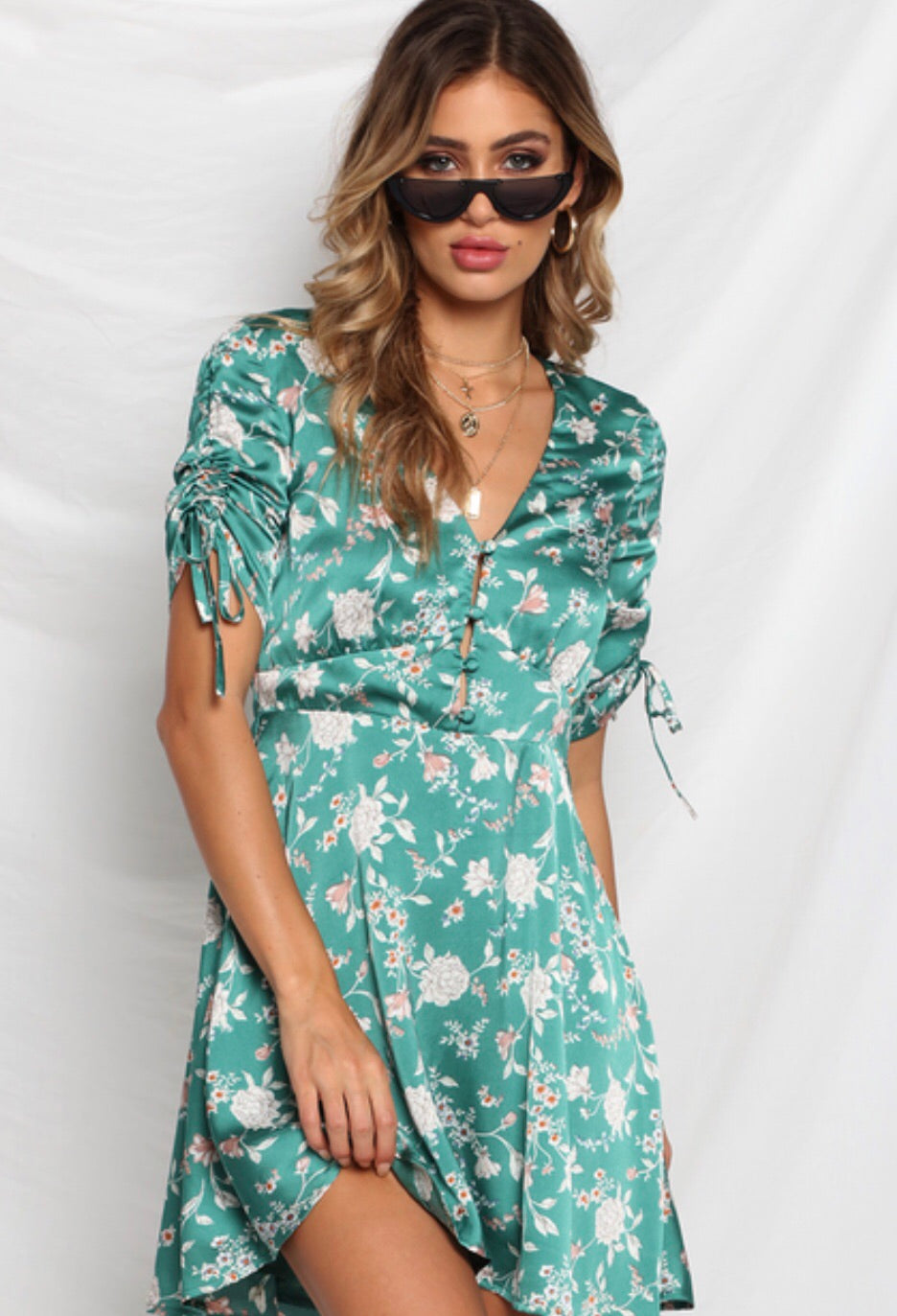 Gwendolyn emerald floral dress
