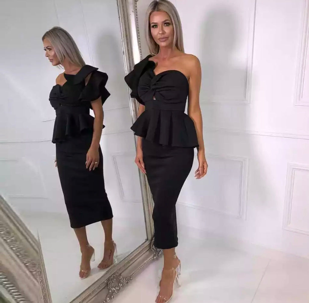 Freddie black top and skirt set
