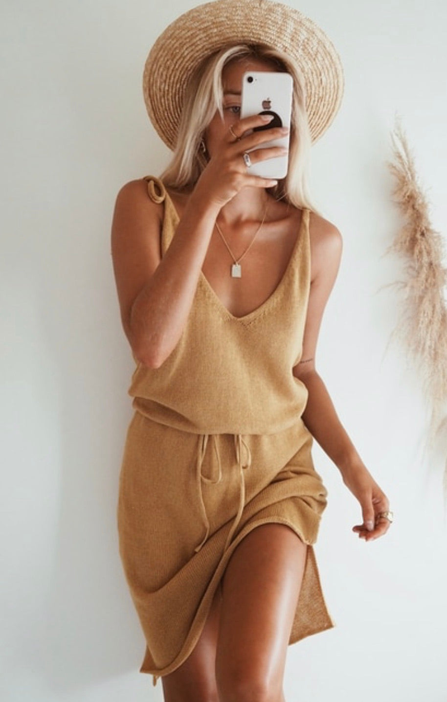 Ellie gold knit dress