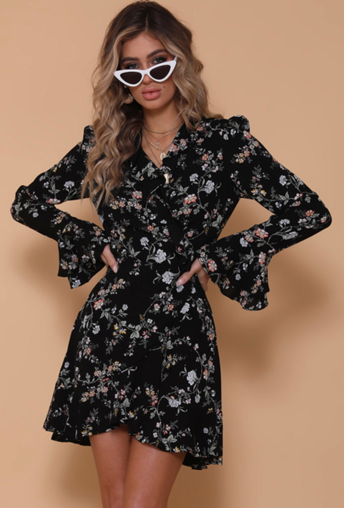 Azalea wrap floral dress