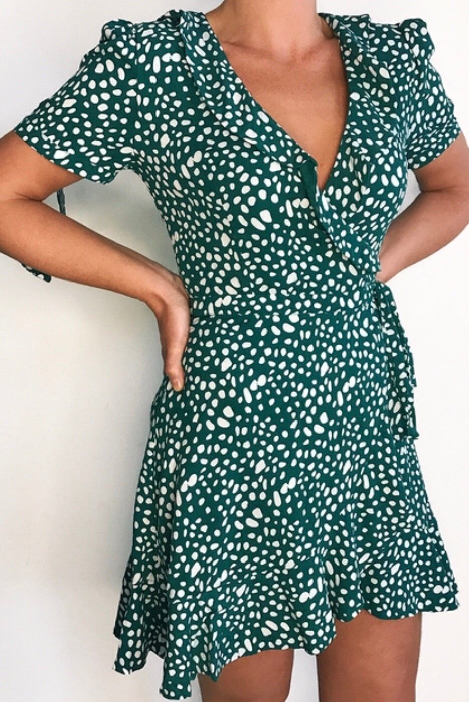 Mon cherie ss emerald wrap dress