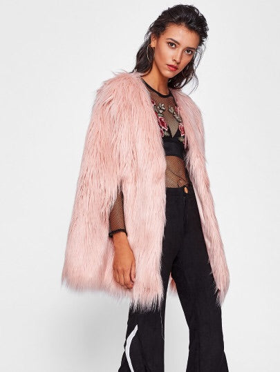 Jami faux fur pink cape jacket
