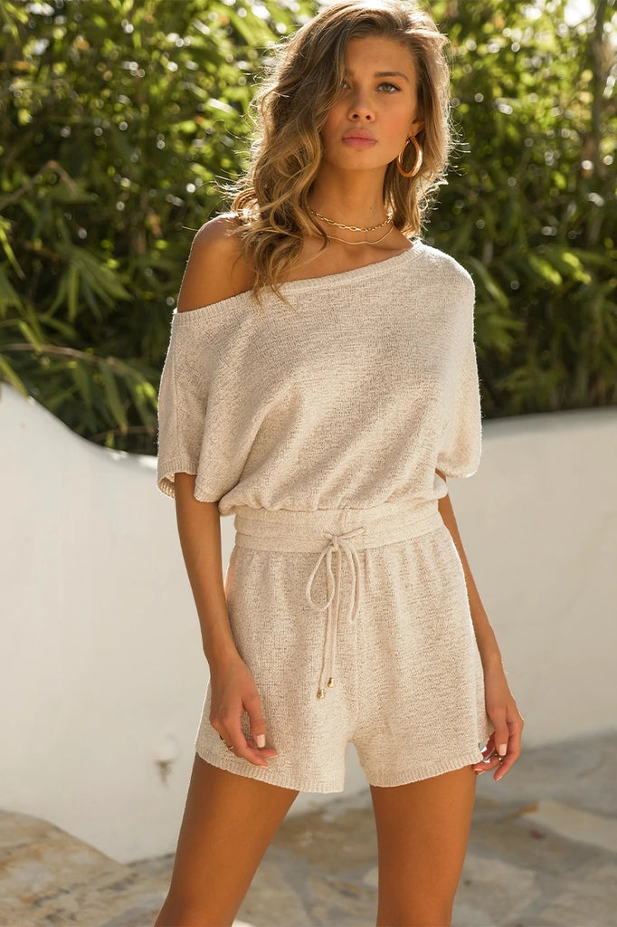 Izzy knit oatmeal playsuit