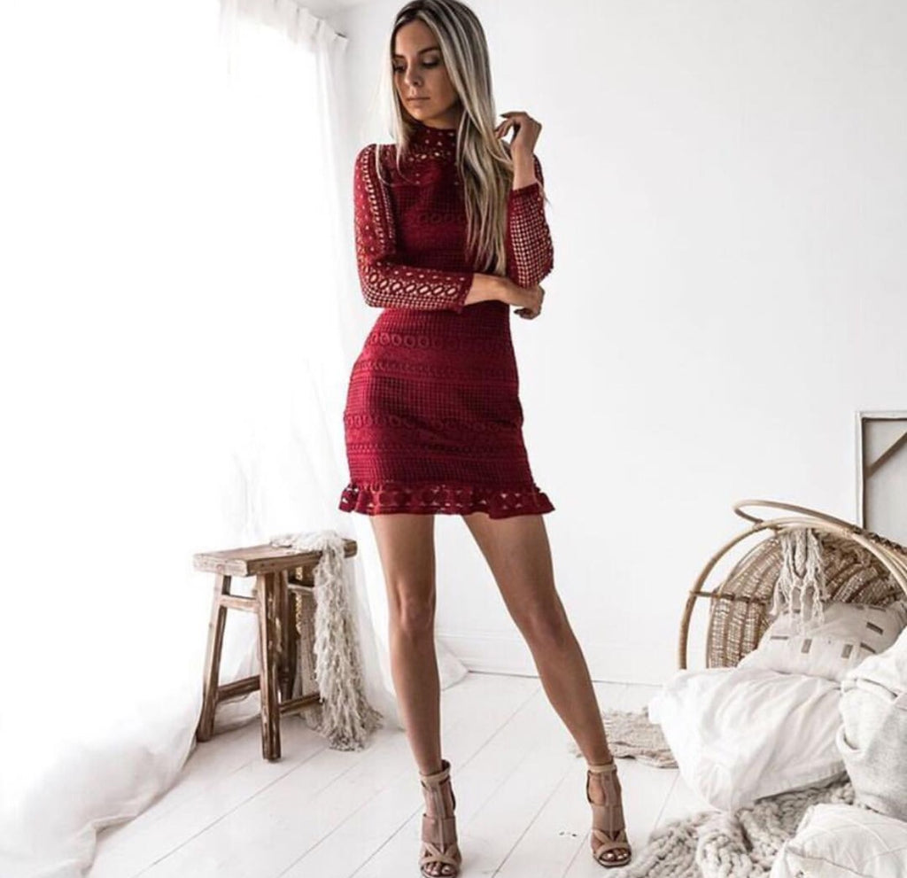 Riptide Wine Red Lace Dress