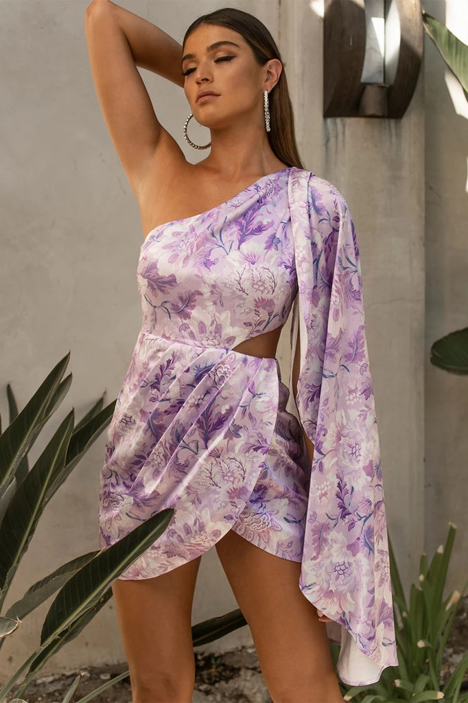 Calantha draped lilac floral dress