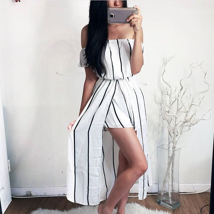 Nova stripe maxi playsuit