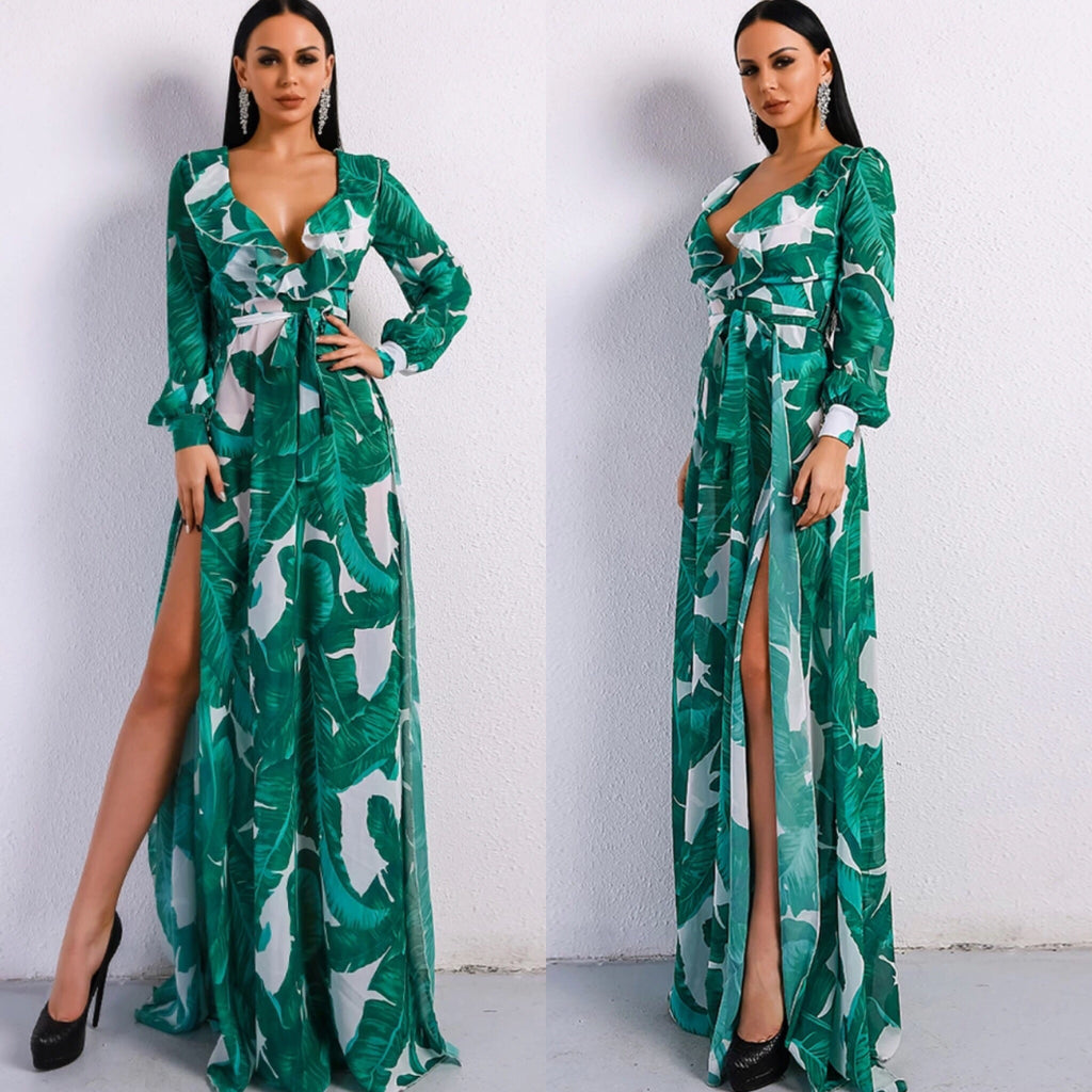 Morocco print kaftan maxi dress