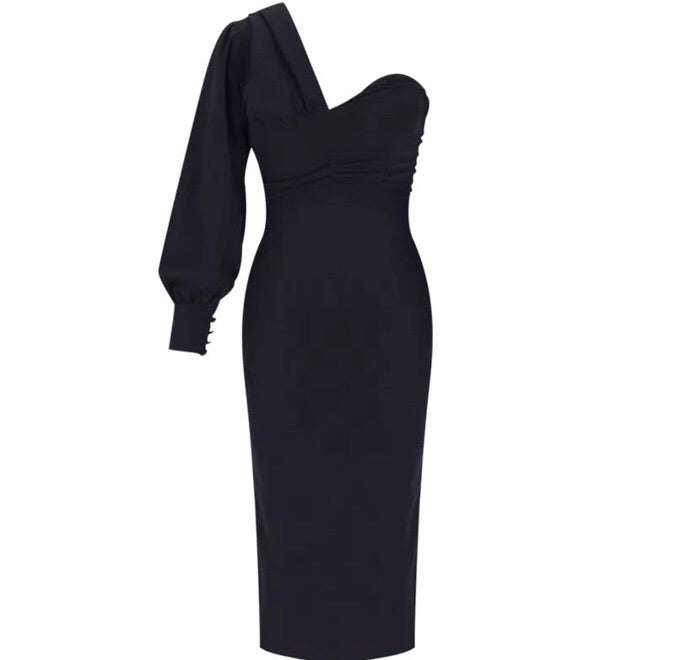 Jenna black one sleeve dress