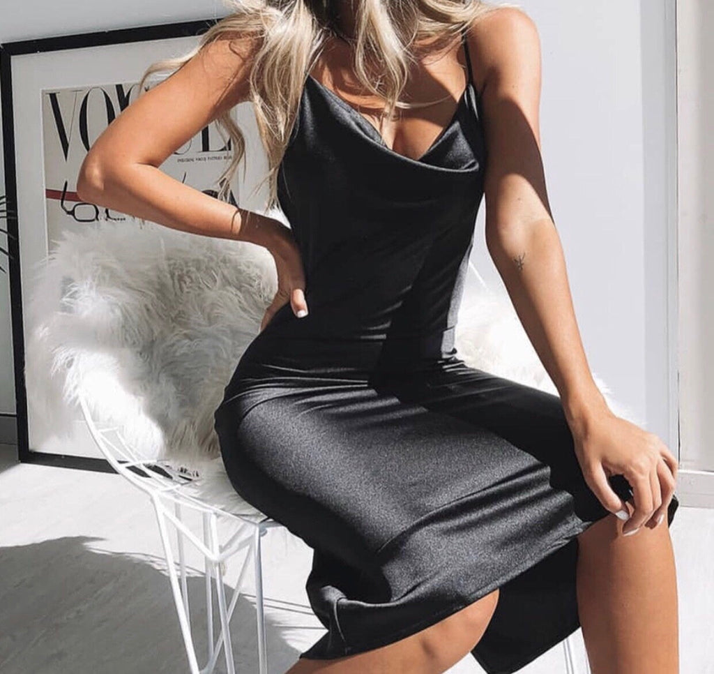 Angelina black satin dress