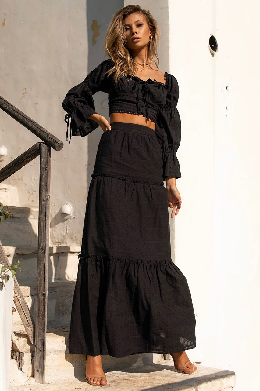 Analia black top and maxi skirt (sold as separates)