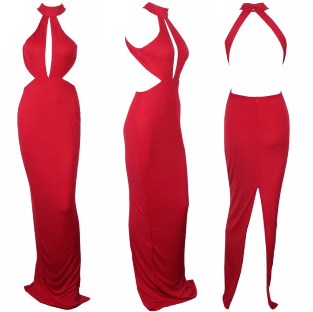 Mon red maxi dress