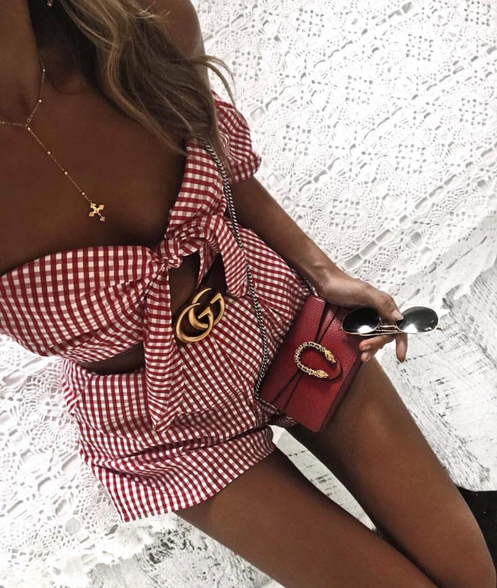Paris red gingham Playsuit