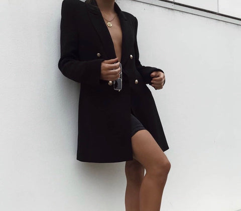 Totally black long blazer