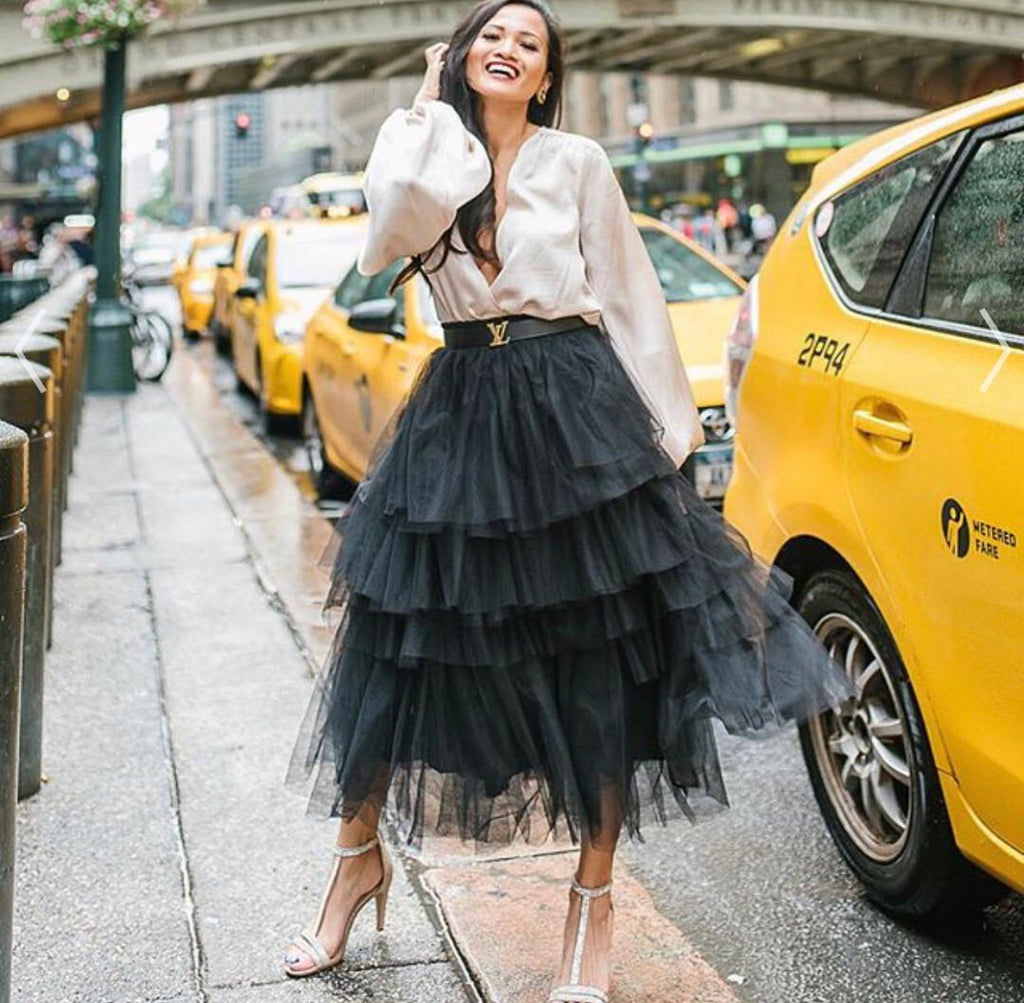 Carrie black tulle skirt