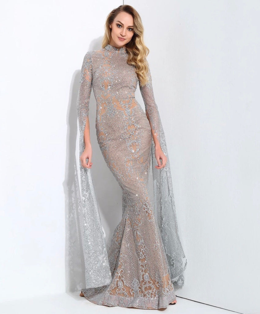 Elyse silver maxi gown dress