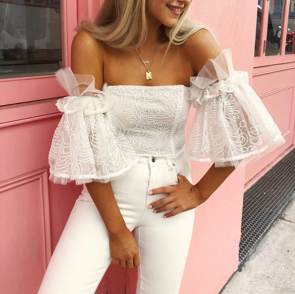 Melody off the shoulder top in white and black