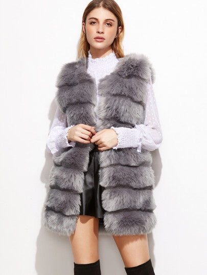 Sammy grey faux fur vest