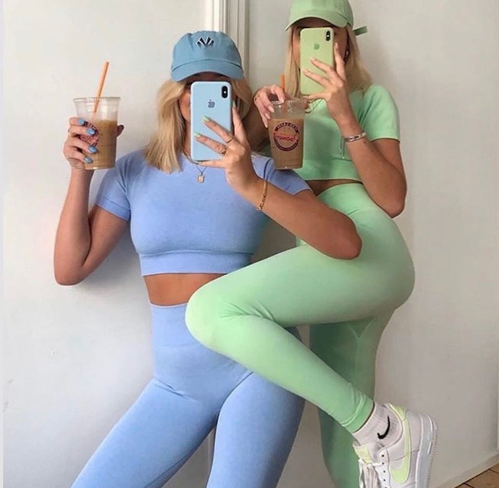 Kendal crop and legging activewear avail Mint and Blue